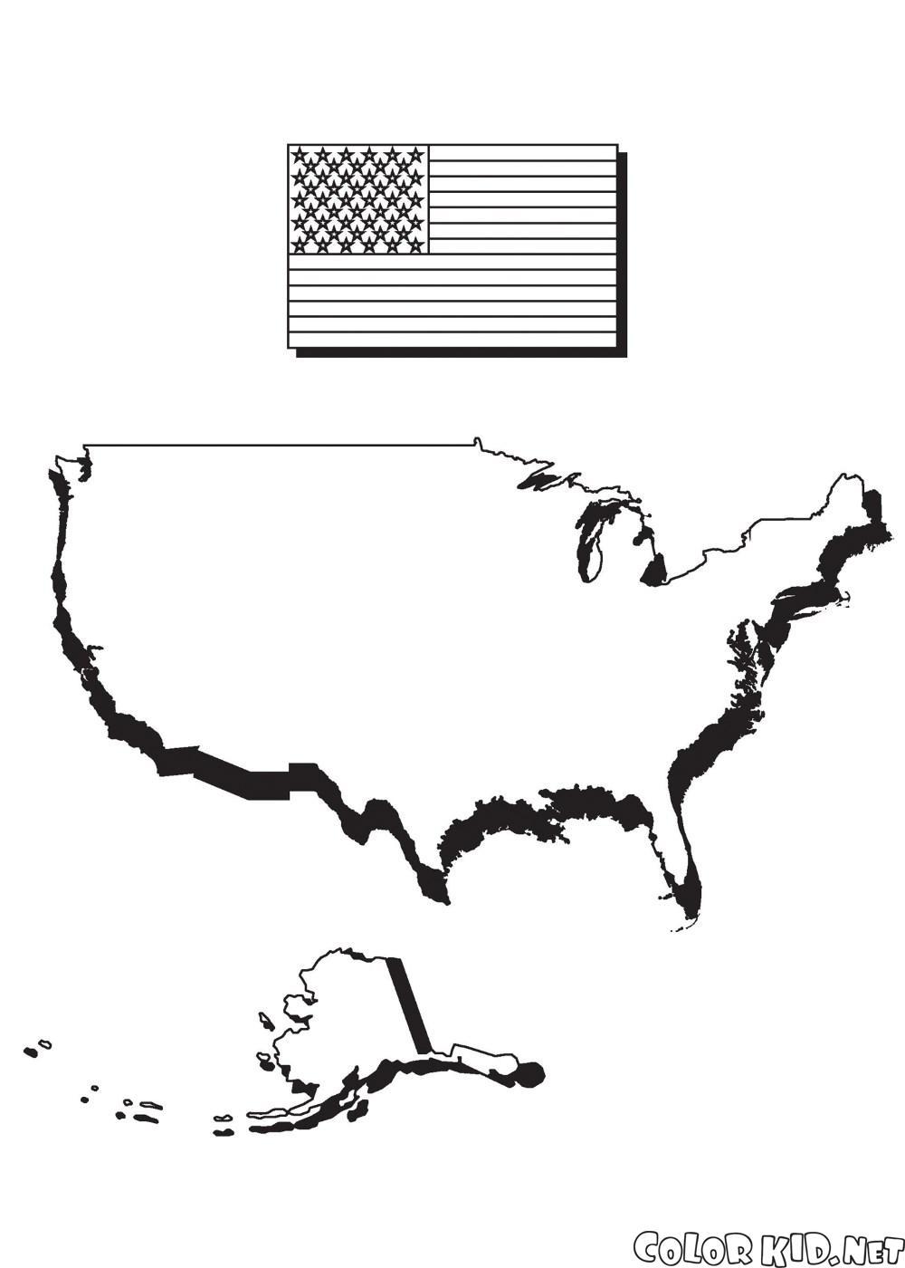 Carte de lAmérique et le drapeau